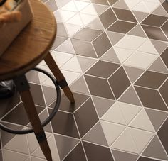 Diamond shaped funky floor tiles from Solus Ceramics. Modern tiles that make up fabulous hexagon shapes. Available in trendy neutral colours. Kitchen or living space. Rhombus Tile, Hexagon Tiles, Hexagon Shape, Living Room Tiles Design, Penrose Tiling, Italian Tiles, Tile Suppliers, Stone Veneer, Geometric Designs