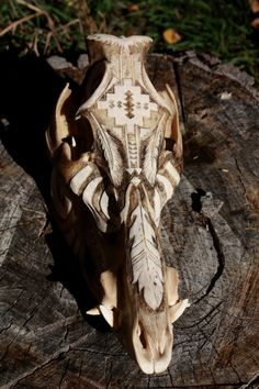 Commissioned Hand carved Boar skull  for inquiries message ghostriverart@gmail.com