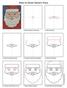 Draw Santa's Face. PDF Tutorial available. #artprojectsforkids #santa #howtodraw