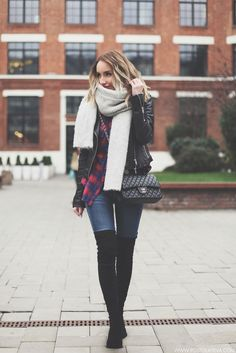 postolatieva is wearing a black leather jacket, a white scarf and a t-shirt  from Zara, Over the knee boots from Steve Madden, Jeans from Mango and a black Chanel purse.