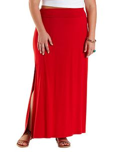 Plus Size Fold-Over Slit Maxi Skirt: Charlotte Russe