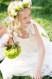 Flower girl w/ribbon basket and hair halo. with Kermit pompoms