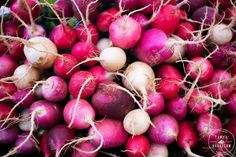 This fine art print of radishes at a farmers market makes a great piece of pink kitchen decor, café or restaurant decor, or gift for your