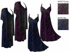 d57d835c33f SALE! 2pc Pretty Fuschia or Blue Glimmer Streaks Glittery Slinky Plus Size  SuperSize 2 Piece