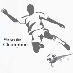 muursticker voetballer we are the champions