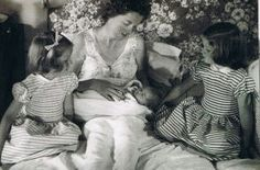 Newborn Princess Diana with her mother Frances and sisters Sarah (left) and Jane; 1961.