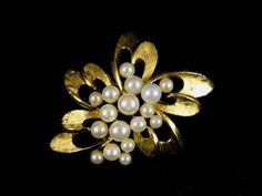 Classic Crown Trifari Brooch Faux Pearls Goldtone by hipcricket, $10.00