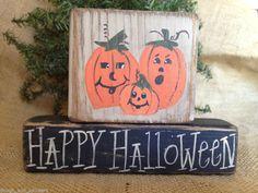 Primitive Pumpkins Jack O Lanterns Happy Halloween Shelf Sitter Wood Blocks Set #HappyHalloween