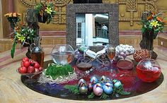 """Nowruz table, or as Iranians call it """"Sofre Haft Sinn"""" is a major traditional table setting of Nowruz. Haft-Sinn, that also spells, """"Haft-Siin"""", means """"the seven 'S's"""" or """"seven items beginning with the letter sinn (S)"""" .Siin or Sinn is the name of """"S"""" character in Persian Alphabet."""