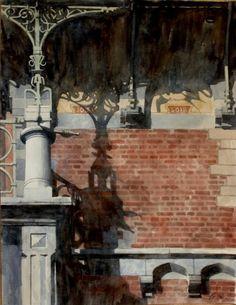 Paul Dmoch. Watercolour. // Paul Hankar 1893 Maison personelle, 71 rue Defacqz, Bruxelles, Belgique (2005)