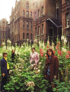 The Beatles in a field of hollyhocks ...way cool