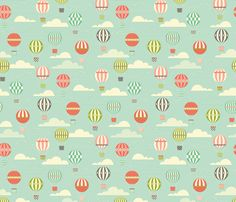 Yet Another Hot Air Ballon Print fabric by katerhees on Spoonflower - custom fabric