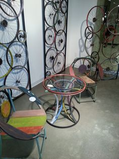 Bike Wheel Furniture - For more great pics, follow www.bikeengines.com
