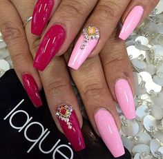 Pink and magenta coffin nails with gemstones