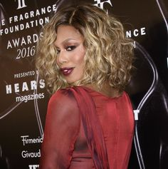 Laverne Cox on the red carpet at the 2016 Fragrance Foundation Awards in New York City on June 7, 2016