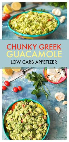 This chunky greek guacamole is a great low carb dip to take to a party or just add to your next Mexican feast. Briny olive, salty cheese, sweet tomatoes all wrapped up in creamy avocados. One serving is just 3.6g net carbs. #lowcarb #lowcarbdip #lowcarbappetizer #Greek #guacamole #avocados