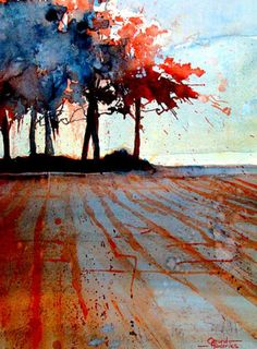Het bos by Gerard Hendriks - 76 x 2007 wenig Farbe - tolle Stimmung Watercolor Trees, Watercolor Landscape, Abstract Watercolor, Landscape Art, Landscape Paintings, Watercolor Paintings, Watercolors, Tree Art, Land Scape
