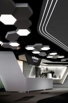 Adidas Japan Headquarters Office www. - Best Home Decorating Ideas - Easy Interior Design and Decor Tips Gym Interior, Futuristic Interior, Office Interior Design, Interior Lighting, Office Lighting, Lobby Interior, Design Entrée, Store Design, House Design