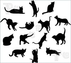 Illustration of A lot of silhouettes of cats