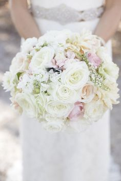 Beautiful white rose bridal bouquet