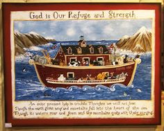 Noah and the Storm by artist Laurie Sherrell Maurey a very unique sign and artwork portraying the Ark going through the storm wood sign by lauriesherrell on Etsy
