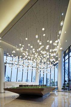 金地南京五华路售楼处 5686582 Amazing Architecture, Interior Architecture, Interior Design, Custom Lighting, Lighting Design, Luxury Chandelier, Chandeliers, Western Restaurant, Sand Table