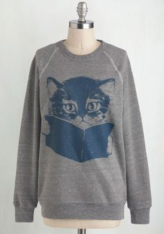 Come Tome to Me Sweatshirt. You love to snuggle up with a good book, and as it turns out, so does the kitten printed on this unbelievably soft heather-grey sweatshirt by West Virginia-based Kin Ship Goods! #grey #modcloth