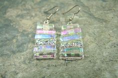 Your place to buy and sell all things handmade Dichroic Glass, Glass Jewelry, Pastel Colors, Clear Glass, Dangle Earrings, I Am Awesome, Craft Projects, Dangles, Steel