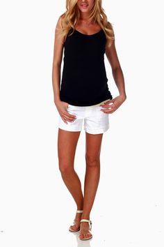 White-Jean-Maternity-Shorts