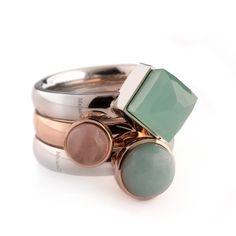 Melano twisted ring stainless steel € 14,95 en de steentjes vanaf € 12,95