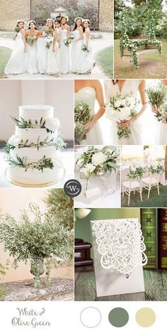 simple and elegant white and olive branch wedding colors for 2017