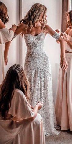 Ivory Lace Strapless Boho Beach Wedding Dresses, – The Best Ideas Bridal Wedding Dresses, Dream Wedding Dresses, Boho Beach Wedding Dress, Boho Beach Style, Strapless Wedding Dresses, Bridesmaid Dress, Bridal Hair, Boho Dress, Lace Dress