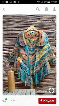 Poncho with collar, fringe , and ties Cardigan Au Crochet, Crochet Cape, Crochet Poncho Patterns, Crochet Shawls And Wraps, Crochet Jacket, Crochet Scarves, Crochet Clothes, Crochet Stitches, Knit Crochet