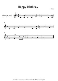 trumpet happy birthday sheet music - 8notes.com                              …