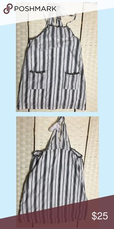 Striped jumper Short jumper with strips print on gray. Pockets on the sides and linen inside. Dresses Mini