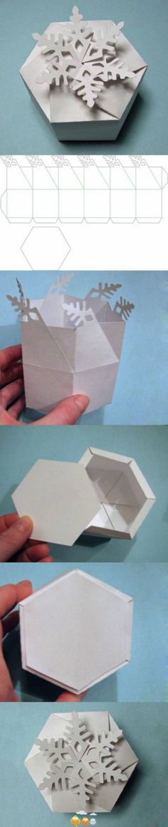 DIY Snowflake Gift Box diy craft crafts christmas how to tutorial winter crafts christmas crafts christmas decorations christmas craft Diy Gift Box, Diy Gifts, Gift Boxes, Craft Tutorials, Diy Projects, Free Tutorials, Diy Paper, Paper Crafts, Origami