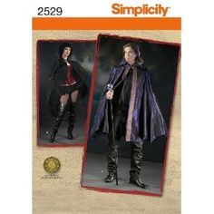Simplicity 2529 Sew Pattern MISSES', MEN'S and TEENS' CAPE Size L, XL