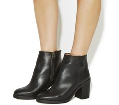 Office Ivory Block Heel Boots Black Leather - Ankle Boots