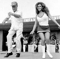 Raquel, in Vietnam with Bob Hope, there to keep up the morale of the troops...among other things