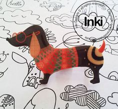 Sausage Dog Shrink Plastic Brooch Whimsical Art by Inkishop, £5.00