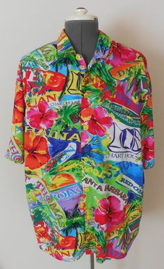 Mens Jams World Shirt XL Hawaiian Tropical Floral Rayon Colorful #JamsWorld #Hawaiian