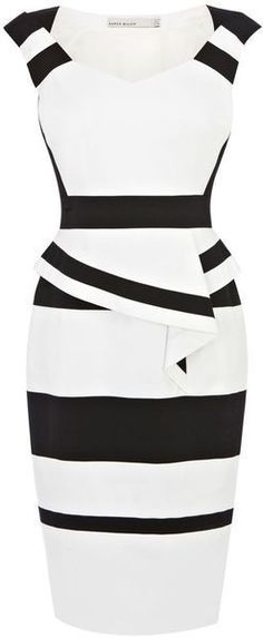 KAREN MILLEN ENGLAND Colourblock Cotton Peplum Dress - Lyst
