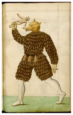 Schembart Carnival Manuscript (1590): Just one of the many amazing costumes featured in this 16th manuscript about the  carnival held in Nuremberg between 1449 and 1539.