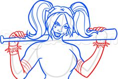 how to draw harley quinn from suicide squad step 9