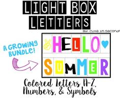 Light Box Display- Colored Letters, Numbers, & Symbols**THIS is a GROWING BUNDLE** CHECK BACK AND RE DOWNLOAD PERIODICALLY!! This is a compressed zip file with the following versions:PDF and JPEGSThe following are included:Letters A-Z in 10 Colors EachNumbers 0-9 in 10 Colors EachSymbols in 10 Colors EachBrush StrokePop Out (Inverse Color Blocks)Wild Standard CapsStandard Caps with and without Outline (12 colors)Colored 3D (!2 Colors)- 7/1