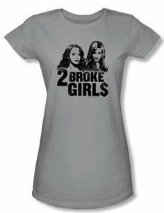 2 Broke Girls Juniors T-shirt TV Shows Broke Girls Silver Tee Shirt