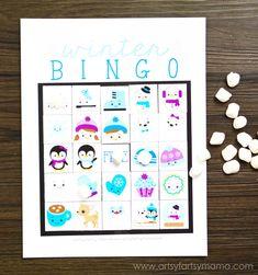 Free Printable Winter Bingo at artsyfartsymama.com
