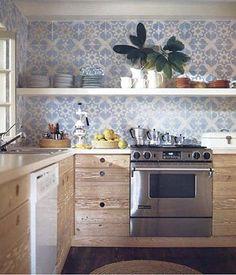 Kitchen Dreams. Pale blue and white tile backsplash and open shelving. Interior Designer: Tom Scheerer.