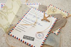 Vintage Air Mail Destination Wedding Invitation por beyonddesign