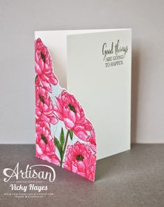 Stampin' Up! ... hand crafted card ... You've got This  ... fancy fold ... partially open to show cut away border on top layer ... luv how the flowers are colored ...
